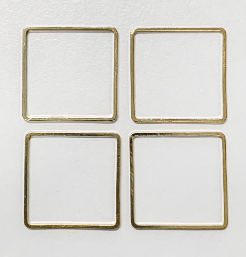 20mm Square Link/Frame/Form, Gold-Plated Brass (Qty: 4)