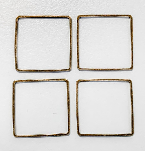 20mm Square Link/Frame/Form, Antique Bronze-Plated Brass (Qty: 4)