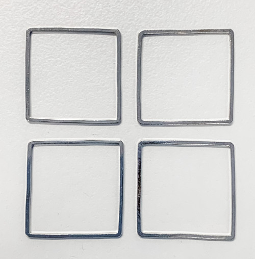 30mm Square Link/Frame/Form, Imitation Rhodium-Plated Brass (Qty: 4)