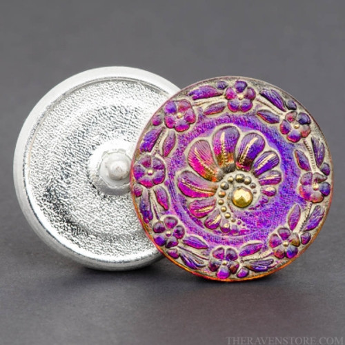 (32mm) Round Fern Button, Purple/Pink Antiqued with Gold Paint (Qty: 1)