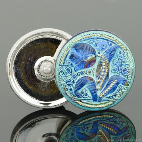(33mm) Round Tulip Design Blue Iridescent with Aqua Wash and Gold Paint