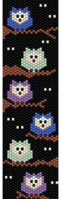 Sue Arrighi's Spooky Owls! Bracelet Kit (pattern sold separately) Even Count Peyote Stitch