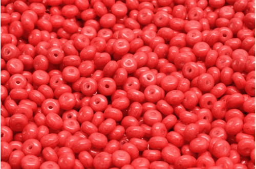 Druk Rondelle Beads 2.5x4mm, Opaque Red (Qty: 50)*