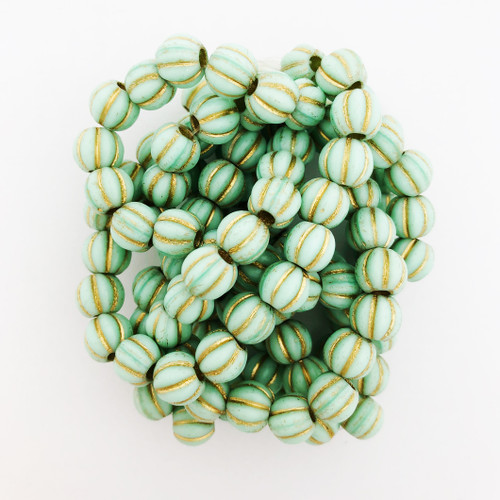 8mm Melon Beads, Mint with Gold Wash (Qty: 12)*