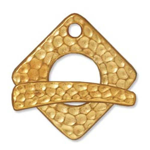 TierraCast Gold Plated Hammered Square Toggle Clasp (Qty: 1)