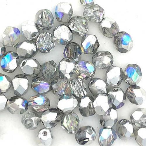 4mm Fire Polish, Crystal Silver Rainbow (Qty: 50)