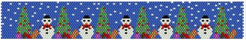Sue Arrighi's Snowmen 2 Bracelet Kit (pattern sold separately) Even Count Peyote Stitch