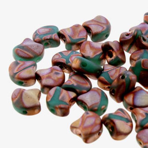 Ginko Beads, Matte Turquoise Green Full Capri Gold Batik (Qty: 25)