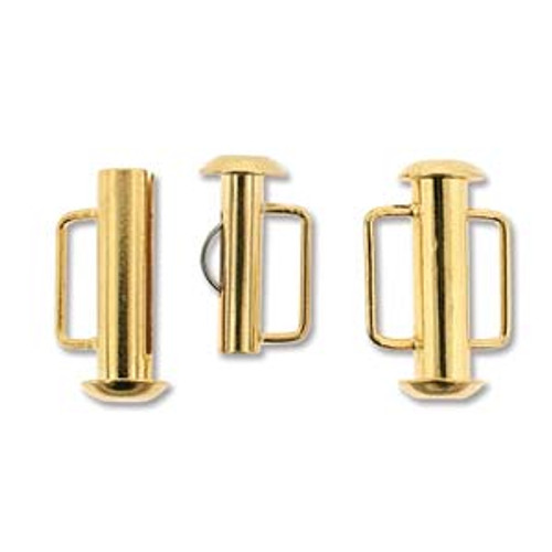 Gold Plated Slide Bar Clasp - 16.5mm (.65 in.) (Qty: 1)