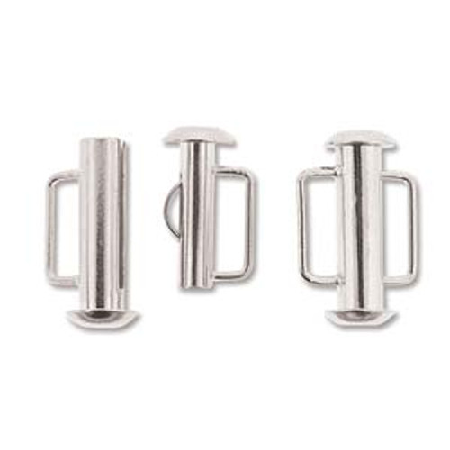 Silver Plated Slide Bar Clasp - 16.5mm (.65 in.) (Qty: 1)