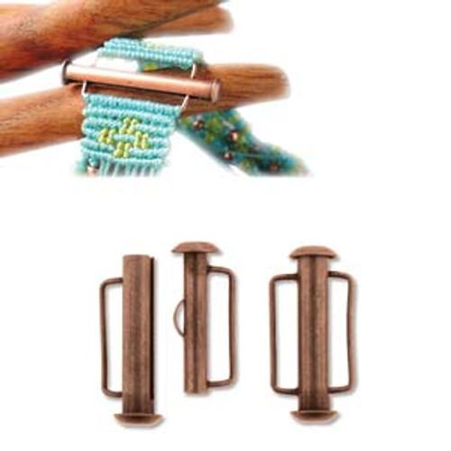 Antique Copper Slide Bar Clasp - 21.5mm (.846 in.) (Qty: 1)