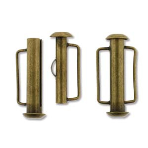 Antique Brass Slide Bar Clasp - 21.5mm (.846 in.) (Qty: 1)