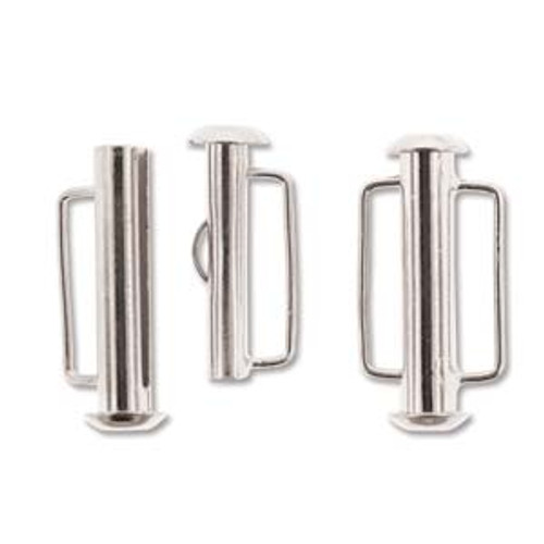 Silver Plated Slide Bar Clasp - 21.5mm (.846 in.) (Qty: 1)