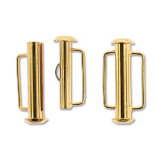 Gold Plated Slide Bar Clasp - 21.5mm (.846 in.) (Qty: 1)