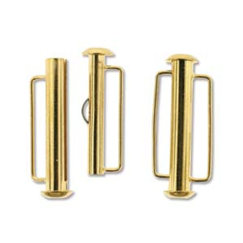 Gold Plated Slide Bar Clasp - 26.5mm (1.04 in.) (Qty: 1)