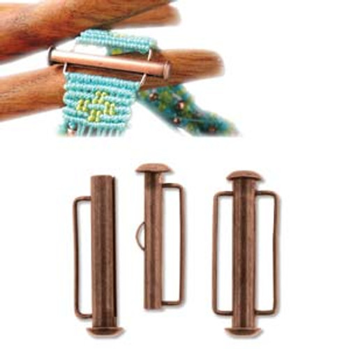 Antique Copper Slide Bar Clasp - 26.5mm (1.04 in.) (Qty: 1)