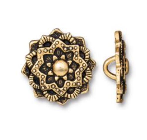 (16.5mm) Mandala Button, Antiqued Gold Plate (TierraCast)