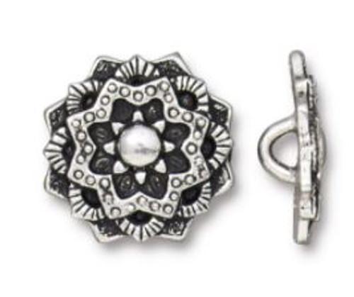 (16.5mm) Mandala Button, Antiqued Silver Plate (TierraCast)