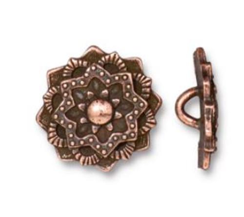 (16.5mm) Mandala Button, Antiqued Copper Plate (TierraCast)