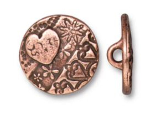 TierraCast Amor Round Button, Antiqued Copper Plate, 16.5mm (Qty: 1)