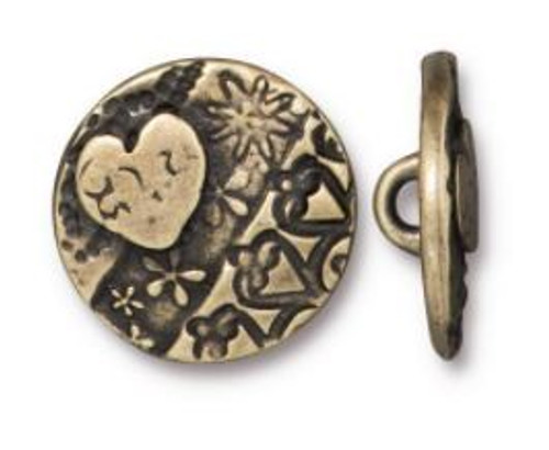 (16.5mm) Love Round Button, Oxidized Brass (TierraCast)