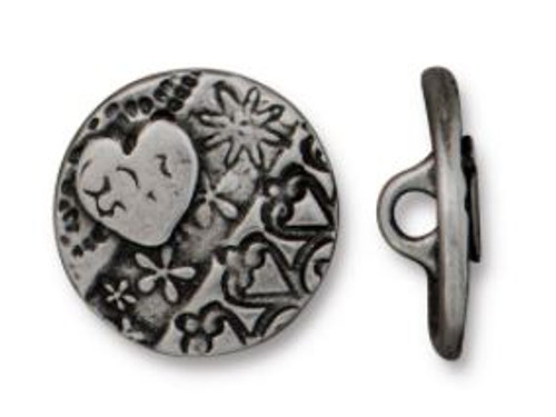 TierraCast Amor Round Button, Antiqued Pewter, 16.5mm (Qty: 1)
