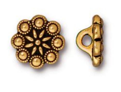 TierraCast Czech Rosette Button, Antiqued Gold Plate, 12.25mm (Qty: 1)