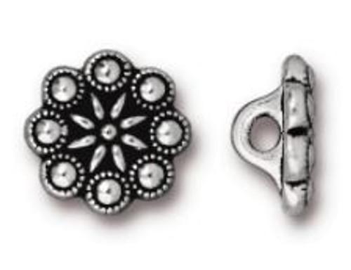 TierraCast Czech Rosette Button, Antiqued Silver Plate, 12.25mm (Qty: 1)