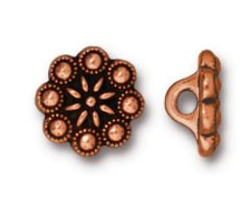 (12.25mm) Czech Rosette Button, Antiqued Copper Plate (TierraCast)
