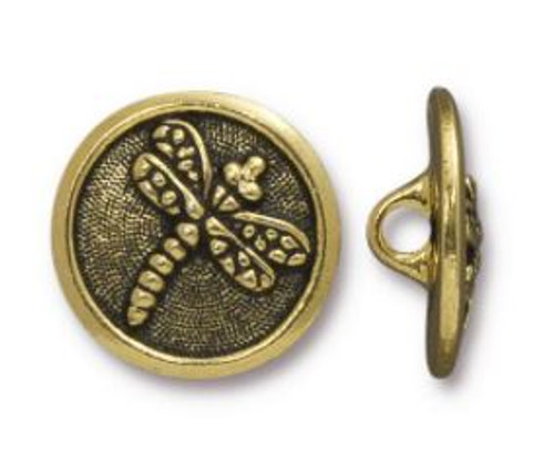TierraCast Dragonfly Button, Antiqued Gold Plate, 17mm (Qty: 1)