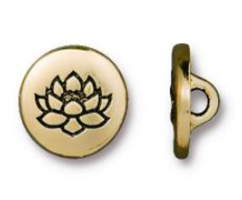 (12mm) Small Lotus Flower Button, Antiqued Gold Plate (TierraCast)