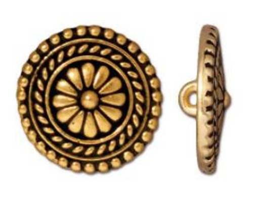 (17.75mm) Bali Inspired Button, Antiqued Gold Plate (TierraCast)