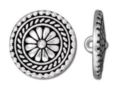 (17.75mm) Bali Inspired Button, Antiqued Silver Plate (TierraCast)