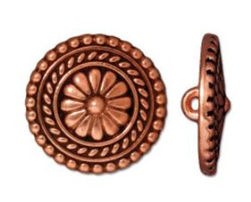 TierraCast Bali-Inspired Button, (17.75mm) Antiqued Copper Plate (Qty: 1)