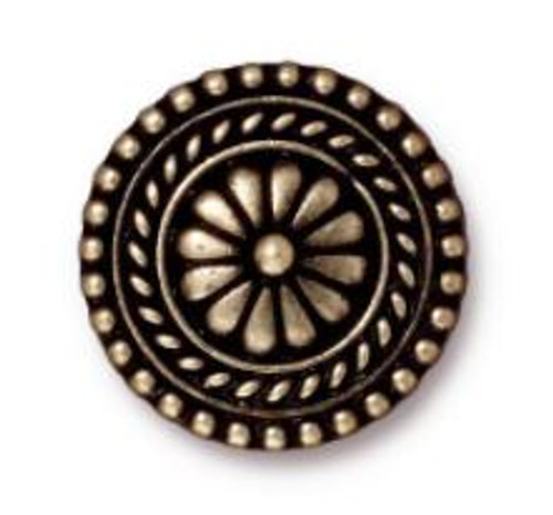 (17.75mm) Bali Inspired Button, Oxidized Brass Plate (TierraCast)