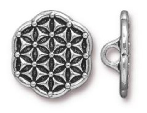 (16mm) Flower of Life Button, Antiqued Silver Plate (TierraCast)