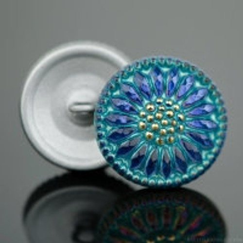 (18mm) Sunflower Button, Blue Iridescent with Aqua Wash