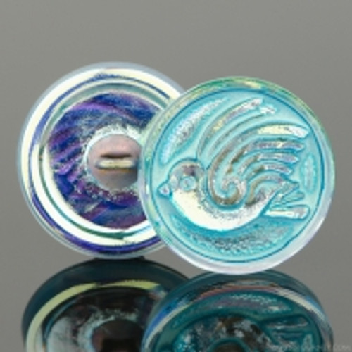 (18mm) Bird Design Button, Gold AB with Turquoise Wash