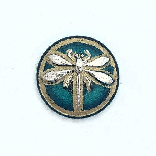 (18mm) Dragonfly Button, Teal with Antiqued Platinum Paint (Qty: 1)