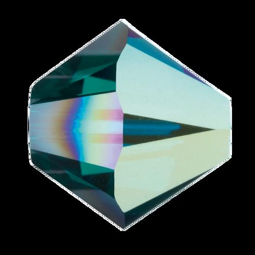6mm Swarovski Bicones, Emerald AB (Qty: 25)