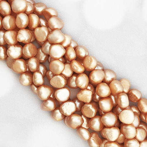 8-8.5mm Peach Fresh Water Pearls, Soft Nugget (1 strand)