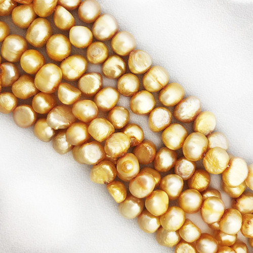 6-8mm Yellow Fresh Water Pearls, Nugget (1 strand)