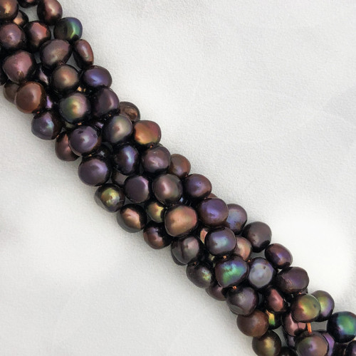 6.5-7mm Chocolate Brown Fresh Water Pearls, Nugget (1 strand)