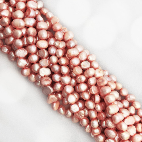 7-8mm Pink Fresh Water Pearls, Nugget (1 strand)
