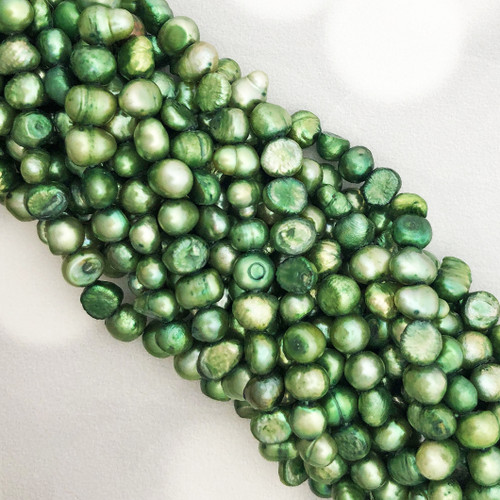 6-6.5mm Pistachio Green Fresh Water Pearls, Nugget (1 strand)