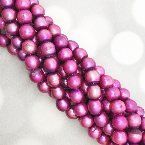 8-8.5mm Deep Rose Fresh Water Pearls, Potato (1 strand)