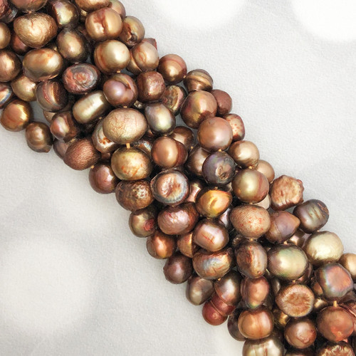 7-8mm Coppery Bronze Fresh Water Pearls, Nugget (1 strand)