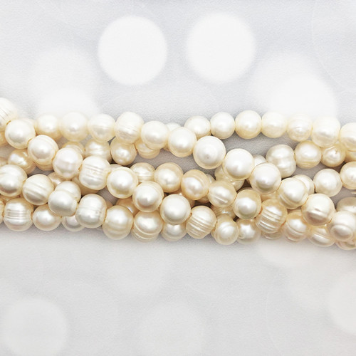 "9-10mm Large Hole! White Fresh Water Pearls, Potato (1 approx 8"" strand)"