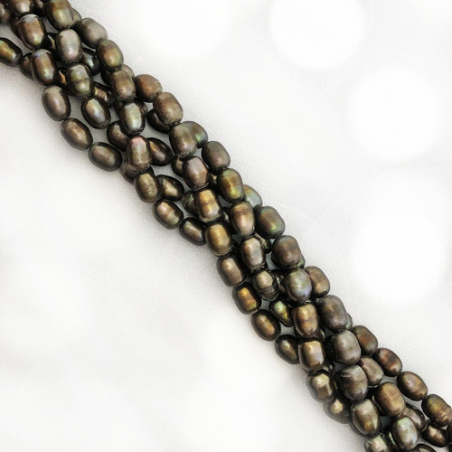 5.5x7.5 Brown Fresh Water Pearls, Rice (1 strand)