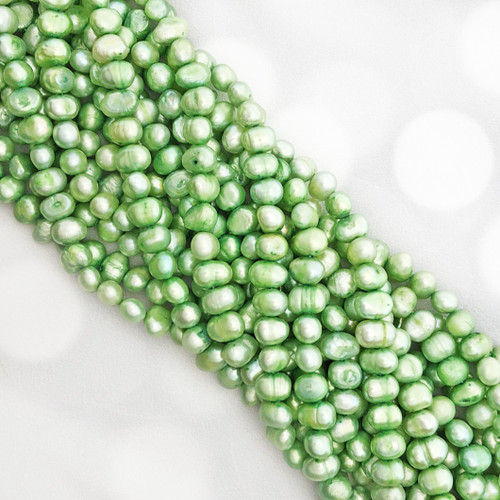 7.5-8mm Spring Green Fresh Water Pearls, Nugget (1 strand)